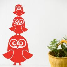 FERM LIVING KIDS - Ferm Living, Three Owls Wallsticker, Rød
