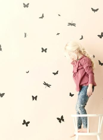FERM LIVING KIDS - Ferm Living, Mini Butterflies Wallsticker, Sort